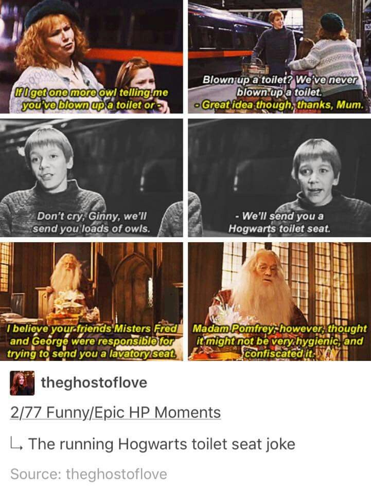 I love it XD The running Hogwarts toilet seat joke