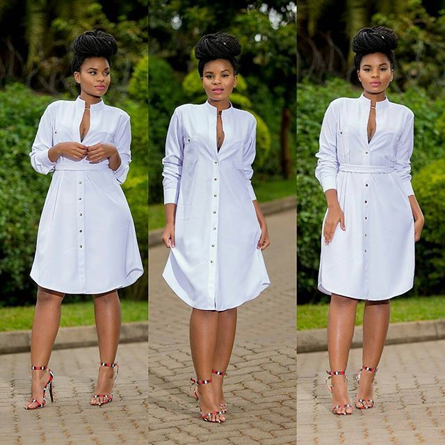 Ankara white dress