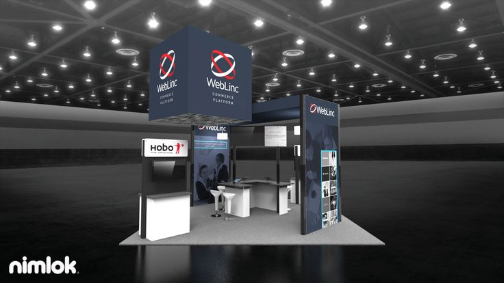 An archway serves as the main structure for the exhibit and houses a consultation space for booth staff to meet with visitors. Two freestanding multimedia kiosks flank the central structure and provide a space to educate attendees on brand capabilities. Finally, a cube-shaped hanging structure draws in the eyes of passersby. #tradeshowdisplay #tradeshowbooth #tradeshowexhibit #display #booth #nimlok