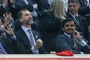 Prince Felipe of Spain and Sheik Joaan Bin Hamad Bin Khalifa Al-Thani, Chairman of the Qatar World Championships 2015, at the Men's Handball World Championship 2013 Final, Spain vs Denmark 35-19, held at the Palau Sant Jordi stadium, Barcelona, Spain.