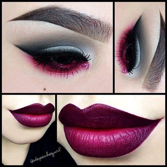 YAAAAAS #bold #boldlip #boldeyes #strongbrow #makeup #goth #FTW #beautiful #dark #lipstick #purple #raspberry #plum