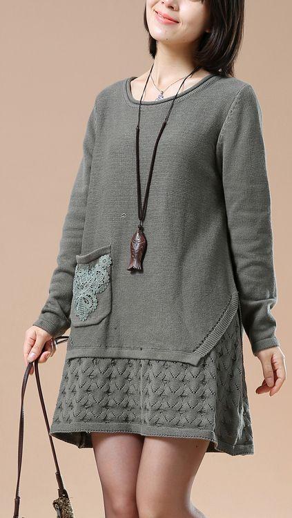 Gray plus size knit sweaters winter shift dress