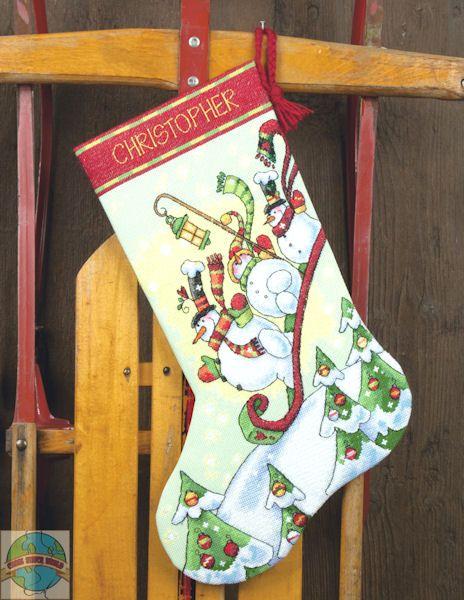 Dimensions - Sledding Snowman Stocking - Cross Stitch World