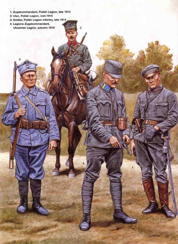 Legione Polacca e Legione Ucraina - 1 Zugskommandant, Legione Polacca,1915 - Ulano, Legione Polacca, 1915 - Soldato, Legione di Fanteria Polacca, 1914 - Legion-Zugskommandant, Legione Ucraina, 1916