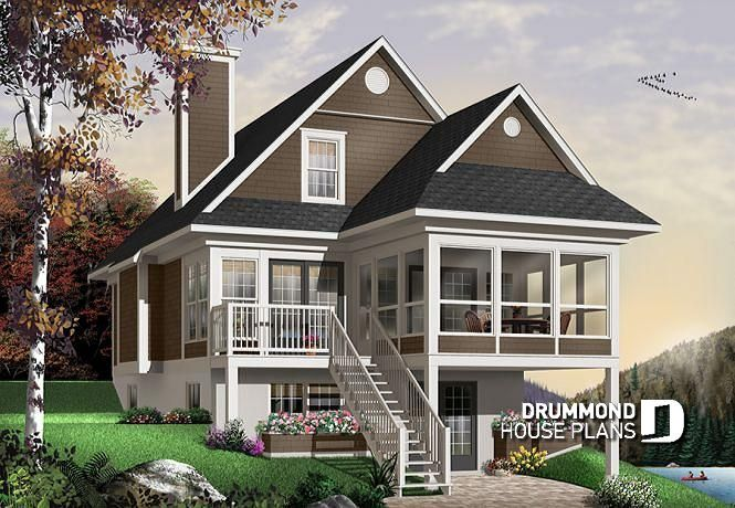 House Plan The Cliffside 5 No 4916a Beach Style House Plans Lake House Plans Cottage House Plans