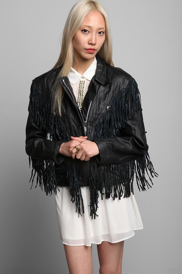 Leather jacket with fringe - Black Leather Jackets With Fringe