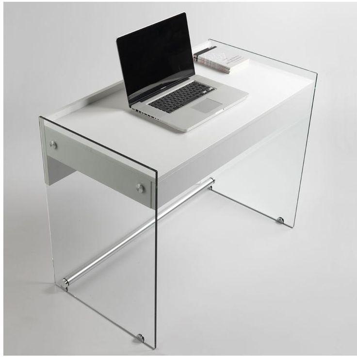 Scrivania portacomputer MYDESK Bianco Opaco con struttura in vetro temperato da 10mm cassetto estraibile Mydesk