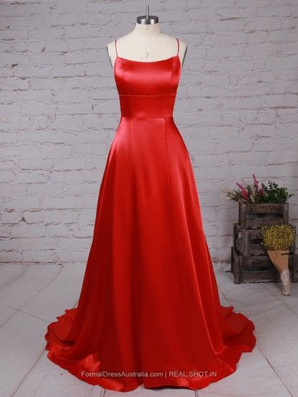 eb6f6aca1f A-line Satin Scoop Neck Ruched Sweep Train Formal Dresses  Formal020105078