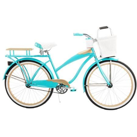 Teal and matte gold finish with a rear rack, cupholder and removable cooler basket. ($159 Walmart)