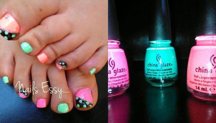 pedicure npink polka black mint sparkly nail art