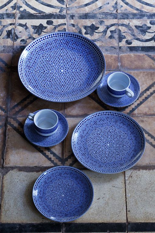 Blue Fez Plate Collection | A Curated World by Kay McGowan  Mix with petal green and cappuccino brown linen clothware.