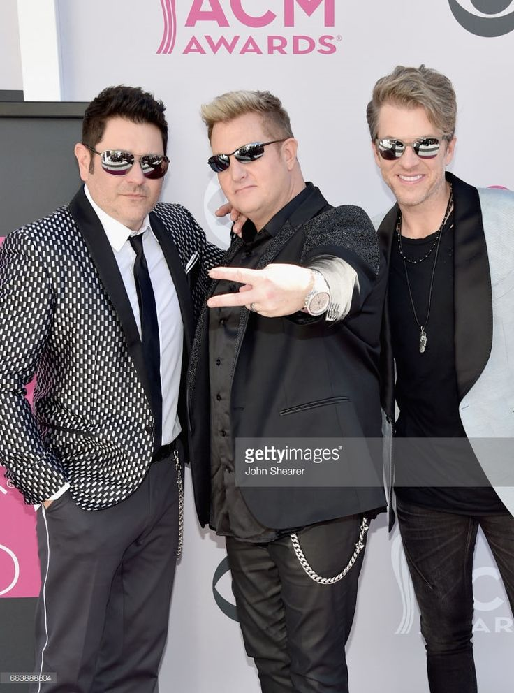 Recording artists Jay DeMarcus, Gary LeVox, and Joe Don Rooney of music group Rascal Flatts attend the 52nd Academy Of Country Music Awards at Toshiba Plaza on April 2, 2017 in Las Vegas, Nevada.