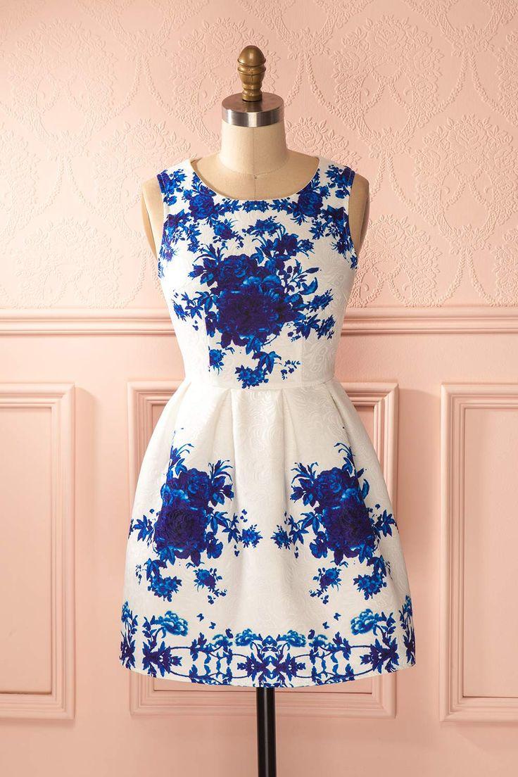 Robe trapèze blanche imprimé fleurs bleues - A-line white dress blue flowers print