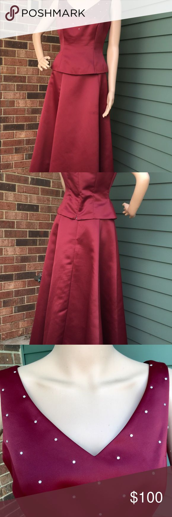 Vintage Long Skirt and Top Evening Wear. Separates in Wine Colored Satin - Like Polyester.... Fully lined. Like New. Vintage Dresses Wedding