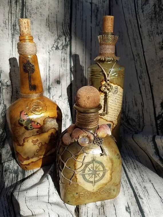 Botellas de licor decoradas diseño del viejo mundo juego de