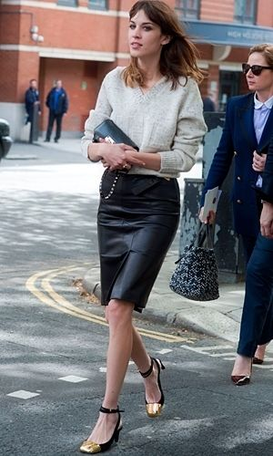 24 best Style It: Leather Pencil Skirt images on Pinterest