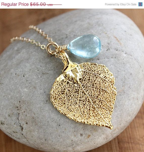 SALE Gold Dipped Aspen Leaf and Blue Aquamarine Necklace - March Birthstone - Summer Jewelry