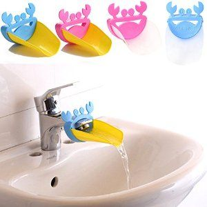 Our tap extenders attach to the end of your basin/faucet tap, which encourages hand washing!  Most kiddies can't always reach the tap, and our tap extenders ensure that they do!  Cute Crab designs with various colours available