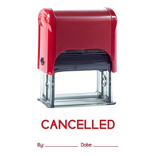 CANCELLED By Date Self Inking Rubber Stamp (Red Ink) Medium