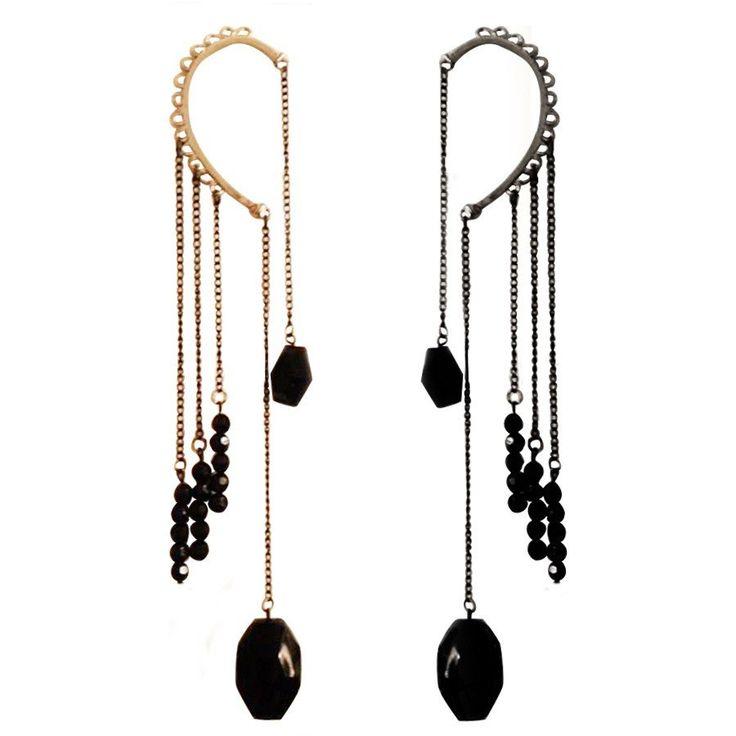 Glam Rock Long Hook Earring (Gold/Silver)