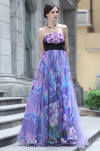 Dresses in Stock-Strapless Silk embroidery beaded purple evening dress