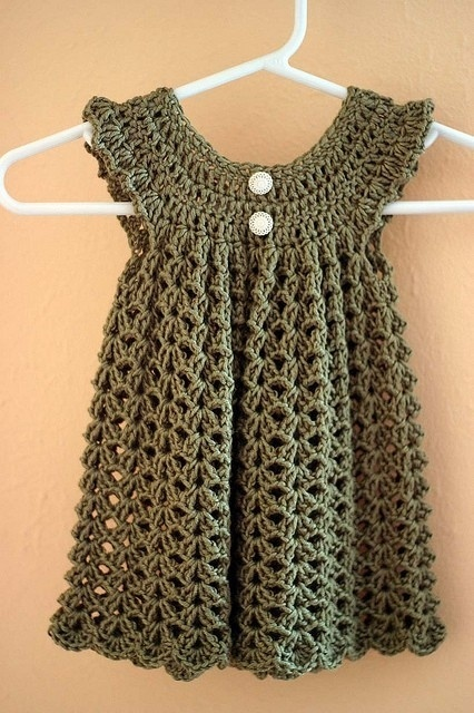Crochet baby dress - Free Pattern by kitty - For K
