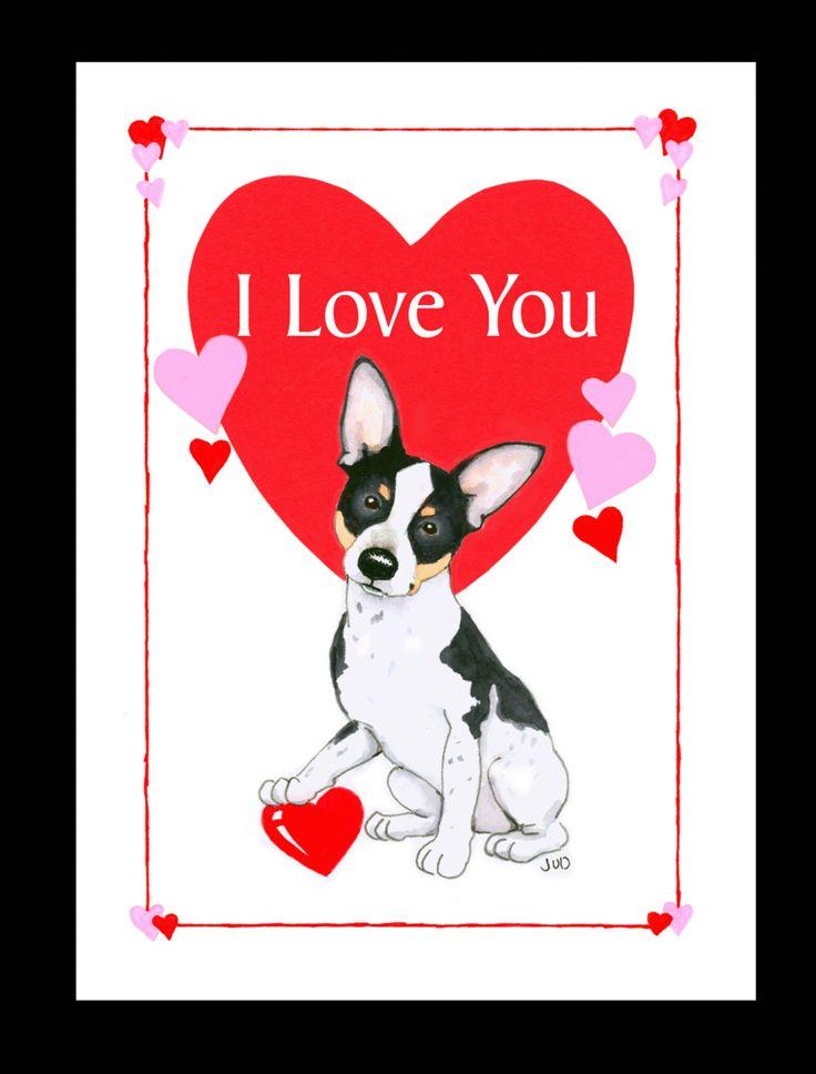 Rat Terrier Valentine Card.