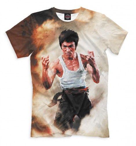 Брюс Ли. Легендарный мастер кунг-фу, восточные единоборства. Мужская футболка с принтом Брюса Ли. Сплошной принт на всю футболку. Круть!!! :)