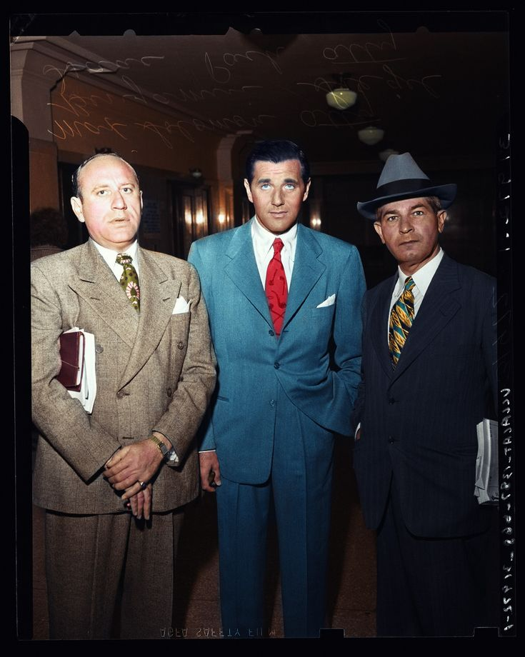 Ben Bugsy Siegel and his lawyers. (Colorized Photo).