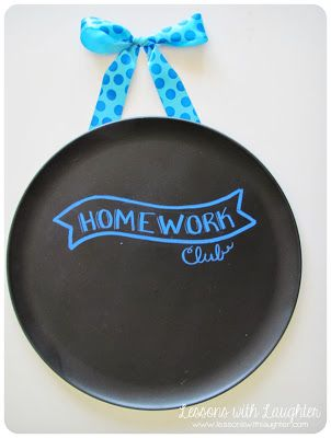 Homework Club on a spray painted pizza pan