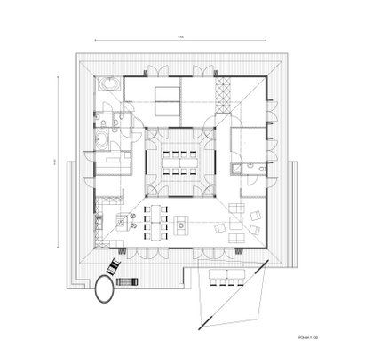 Large size house central courtyard house central for Inner courtyard house plans
