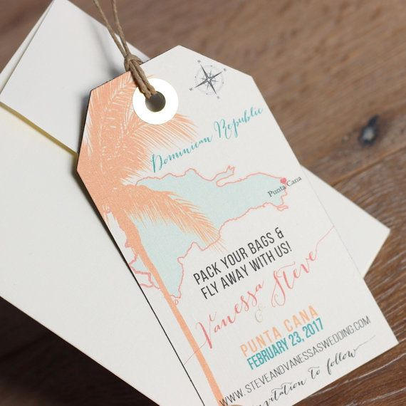 Wedding invitation Punta Cana Save the Date Magnet Luggage Tag Design Fee. Destination Wedding