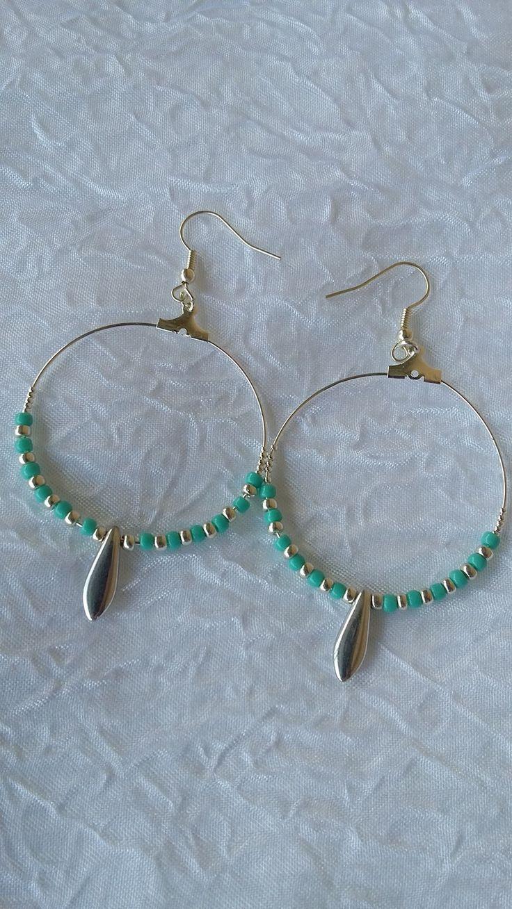 """Boucles d'oreilles créoles argentées """"Folie Turquoise"""" : Boucles d'oreille par perles-in-the-sky"""