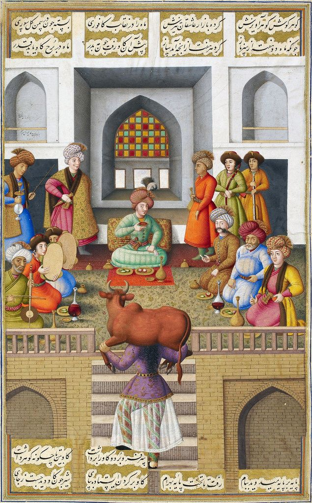 Painting by Muhammad Zaman dated Mazandaran, 1086 (1675/76). The servant girl Fitnah impresses Bahram Gur with her strength by carrying an ox on her shoulders