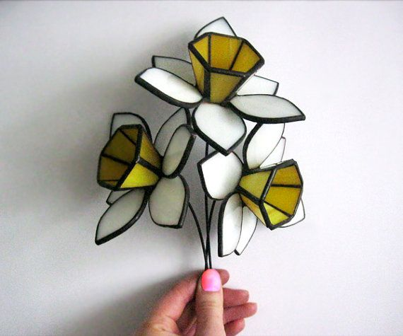 Glass Daffodils.Stained glass flowers.Tiffany bouquet.Gift for mam