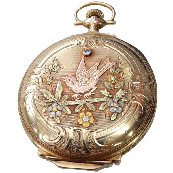 Preowned Elgin Multi Gold Diamond Hunter Case Pocket Watch ($5,200) ❤ liked on Polyvore featuring jewelry, watches, accessories, fillers, decor, multiple, pocket watch, gold pocket watch, engraved pocket watch and 14k gold watches