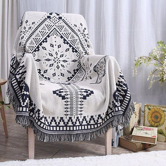 Throw Blanket Tel Tapestry Woven Cotton Sofa Bed Couch