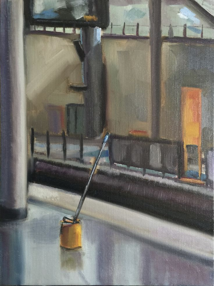 Station platform  Oil on canvas board 40.5 x 30cm
