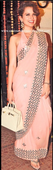 Gota patti - pink - idea to attach brocade/sequin lace to plain georgette saree