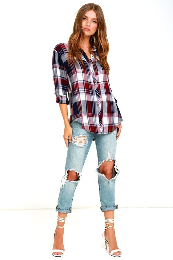 Curl up by the fire in the White Crow Shadow Chaser Burgundy Plaid Top! This collared, button-up top has an oversized bodice, long sleeves with button cuffs, and a notched high-low hem. Plaid print includes burgundy, white, and navy blue.