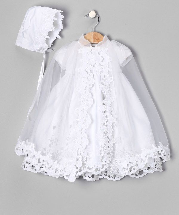 GORGEOUS!!! baby girls Christening gown, or baptism gown and bonnet with lace cape. White Eyelet Bow Dress Set - Infant, Toddler & Girls