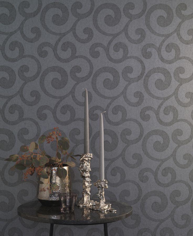 Rasch textil amira 12 die dunkel graue tapete mit for Graue tapete