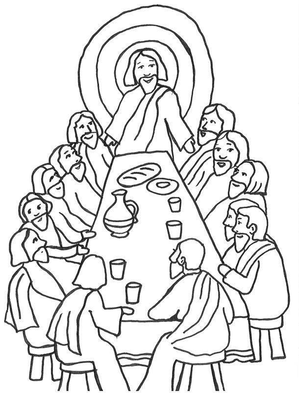 Szene des letzten Abendmahls mit Jesus und seinen Jüngern ...