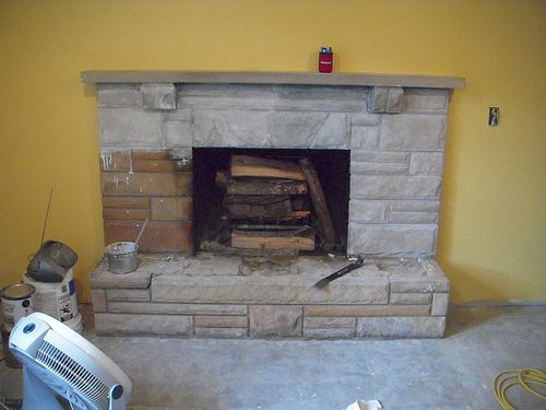 whitewashed stone fireplace - Google Search | Saving ...