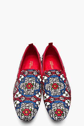 Alexander McQueen Red Woven Stained Glass Loafers for men | SSENSE