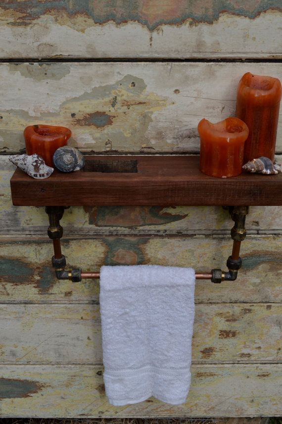 Bathroom shelf with towel rail / rack. Wood, copper and brass. Gorgeous reclaimed / recycled timber. Industrial, steampunk, rustic.