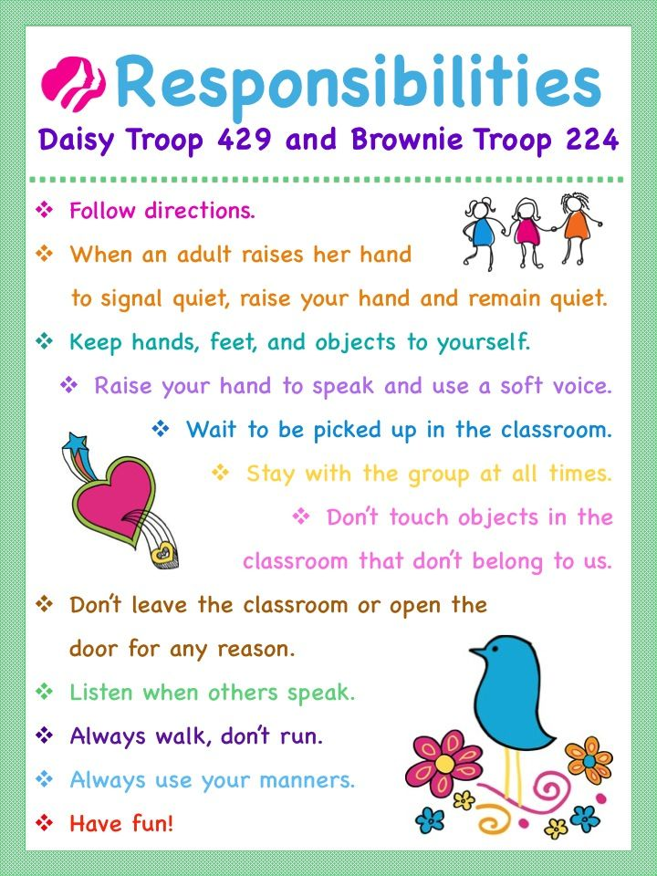 girl scouts troop meeting rules and responsibilities chart    poster