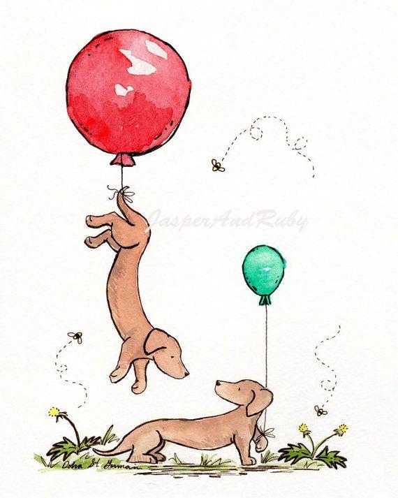 Dachshund Nursery Art Balloon Nursery Art Puppy by JasperAndRuby