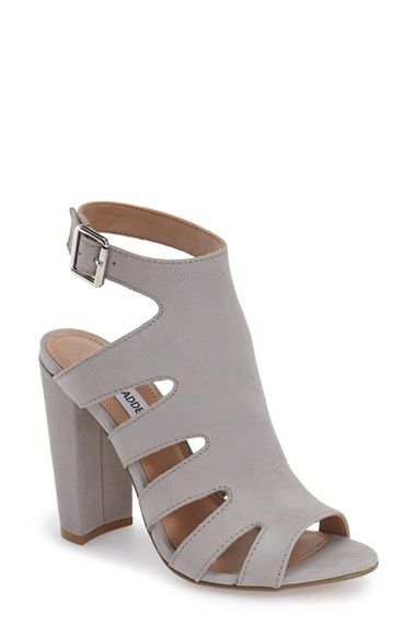 Steve Madden 'Caliie' Cut Out Buckle Ankle Strap Sandal suede grey, black