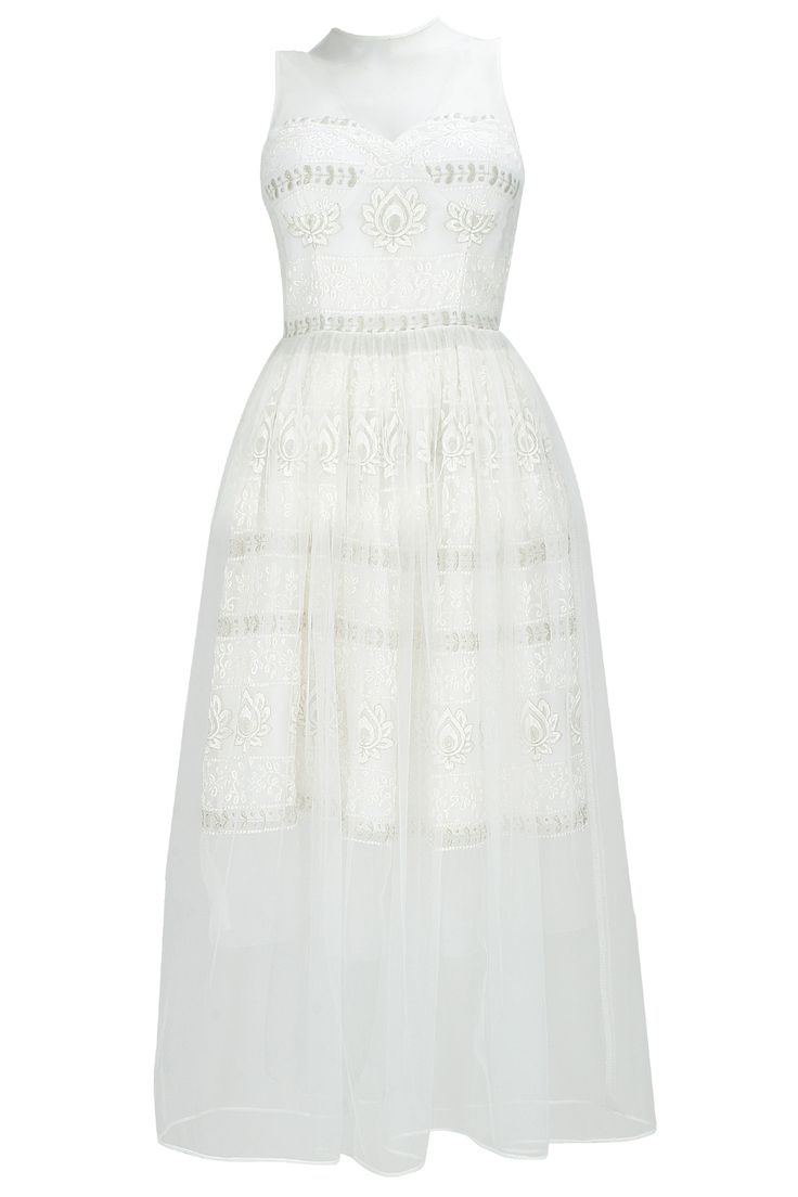 Off white embroidered mesh and net overlay dress available only at Pernia's Pop-Up Shop.